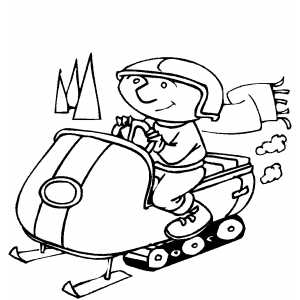 300x300 Man With Scarf On Snowmobile Coloring Sheet