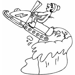 300x300 Boy Jumping On Snowmobile Coloring Page