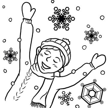 360x360 Printable Winter Coloring Pages Snow Falls, Snow And Winter