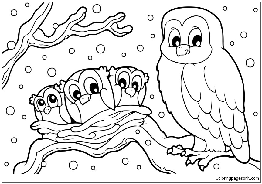 863x606 Winter Snowy Owl Coloring Page
