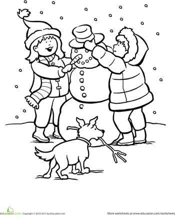 350x431 Snowy Day Coloring Page Worksheets, Activities And Color Activities