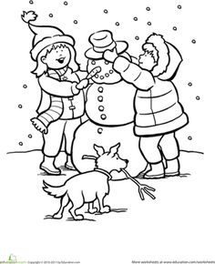 236x290 Children Playing Snow In Winter Coloring Page Winter