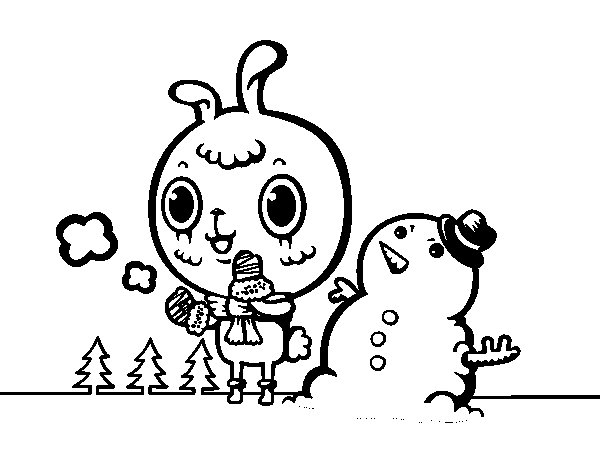 600x470 Snowy Day Coloring Page