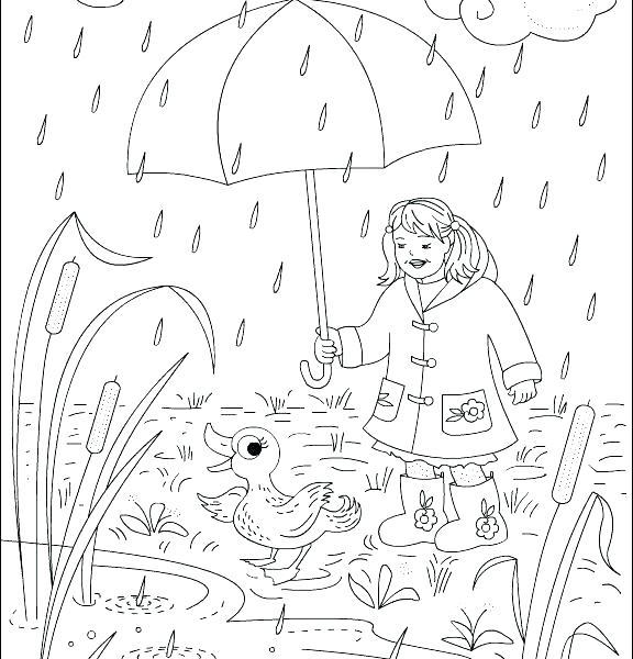 576x600 Rain Coloring Sheet Rain Coloring Sheet Snowy Day Coloring Page
