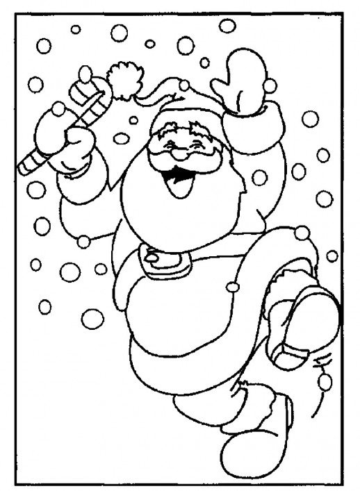 518x707 Santa Claus Feels Exciting On Christmas Snowy Day Coloring Pages