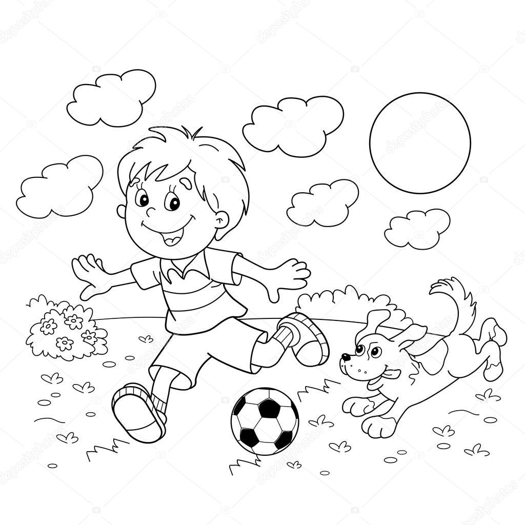 1024x1024 Astonishing Coloring Page Outline Of Cartoon Boy With A Soccer