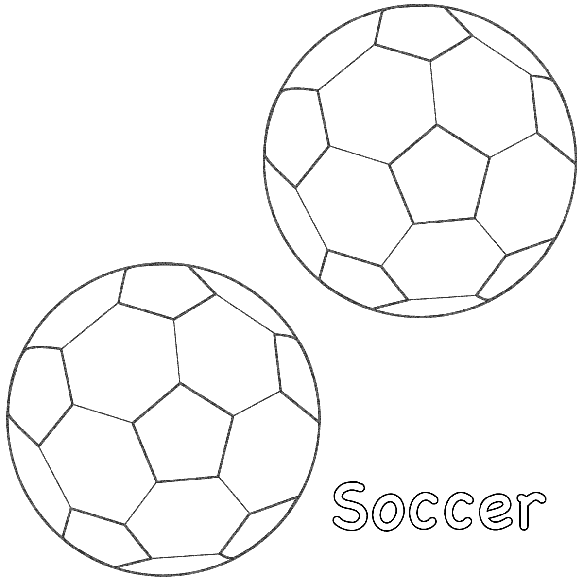 1200x1200 Two Soccer Balls Free Coloring Page Kids, Sports Coloring Pages