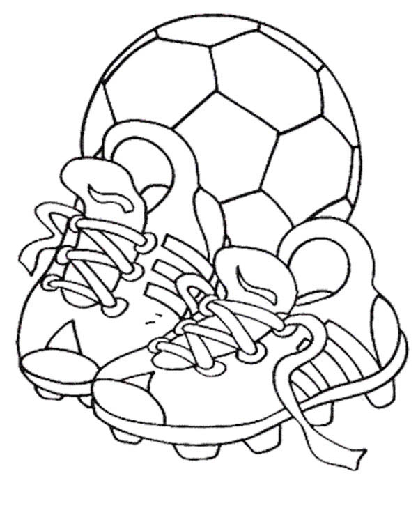 600x729 A Soccer Ball And Pair Of Soccer Cleats Coloring Page