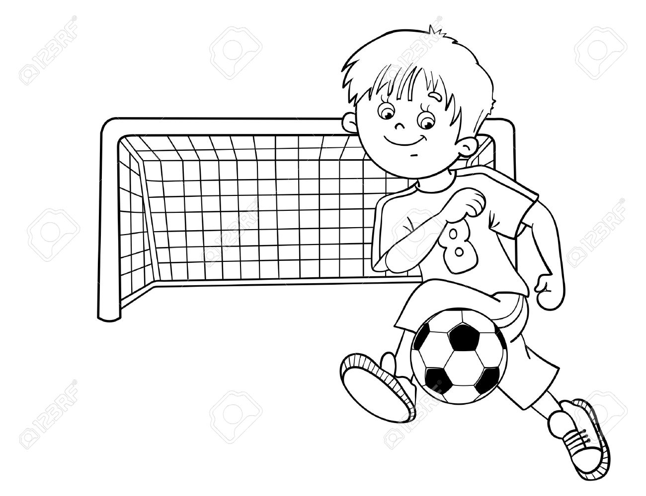 1300x1000 New Coloring Page Outline A Cartoon Boy With A Soccer Ball