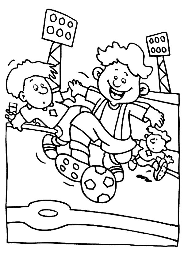 600x849 A Group Of Boys Playing Soccer In A Stadium Coloring Page