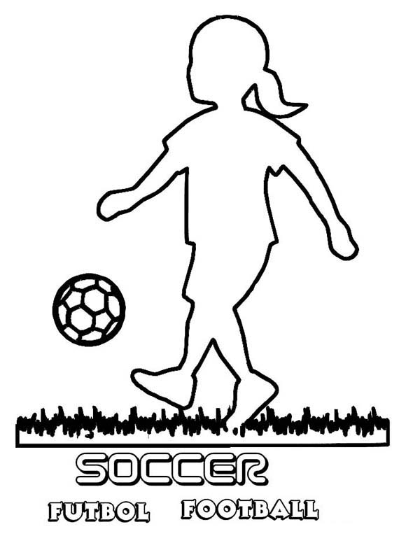 600x776 A Silhouette Of Little Girl Playing Soccer Coloring Page