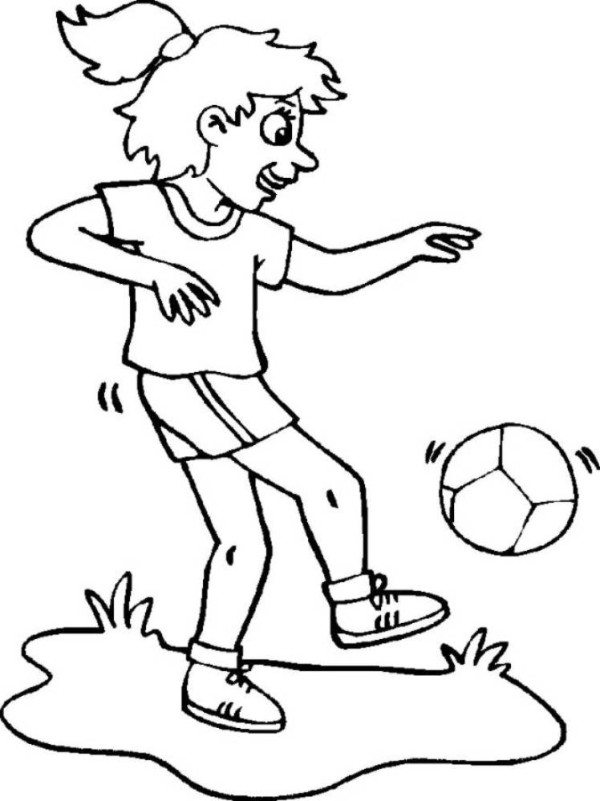 600x801 Soccer Coloring Pages Girl