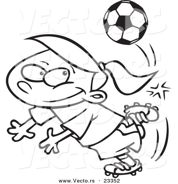 600x620 Cartoon Vector Of Cartoon Soccer Girl Doing A Kick Trick