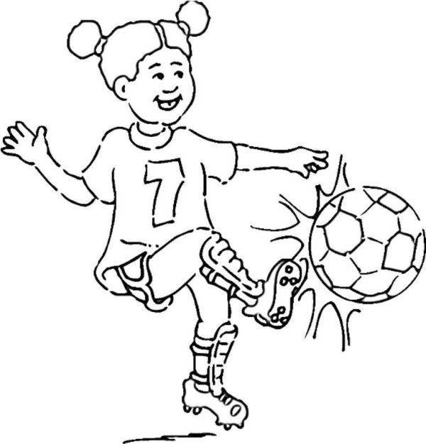 600x626 Soccer Girl Coloring Page Girl Playing Soccer Coloring Pages