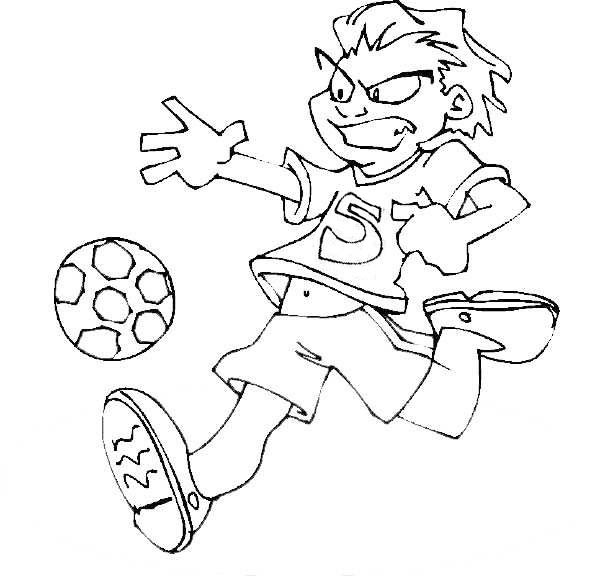 600x576 A Soccer Player Dribble The Ball Fiercely Coloring Page