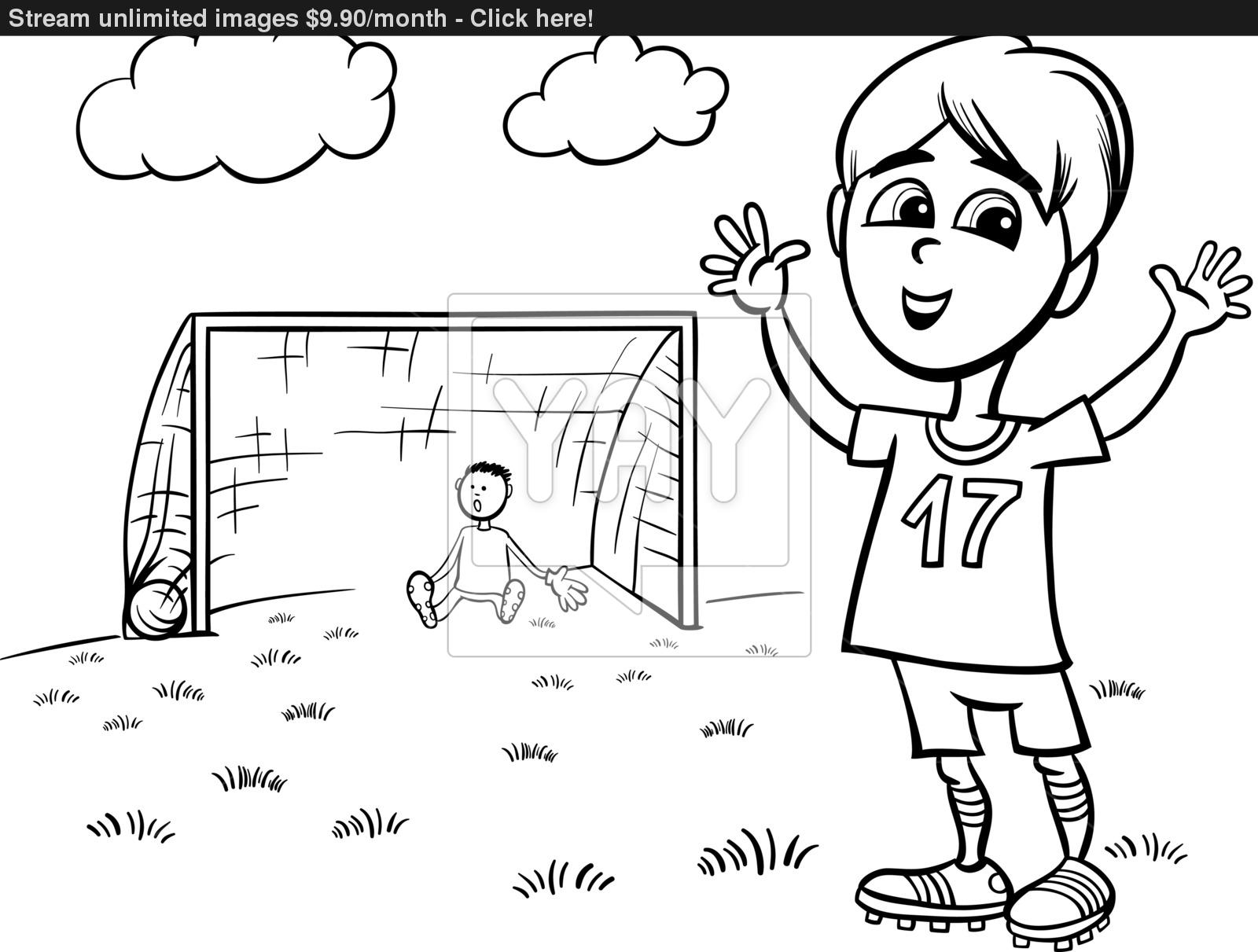 1600x1211 Boy Playing Soccer Coloring Page Vector
