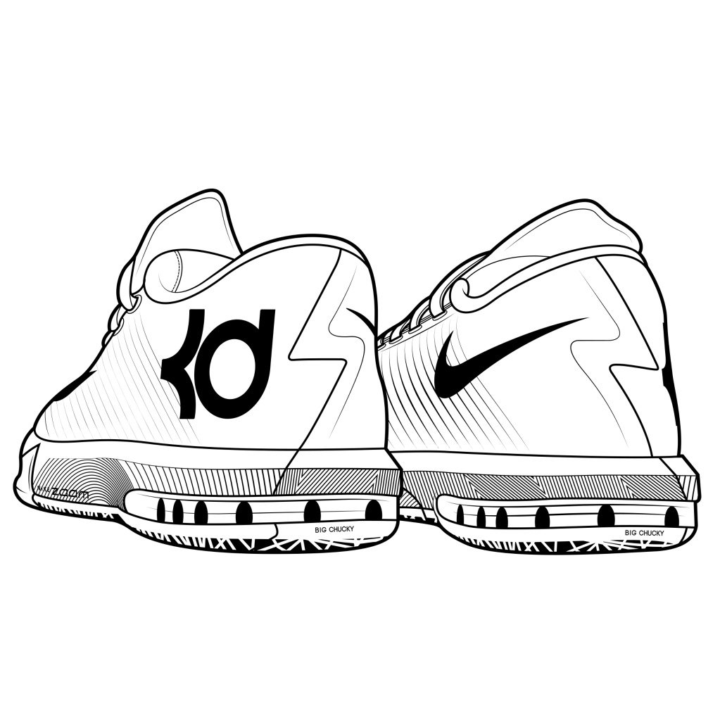 1023x1023 Enormous Shoe Coloring Sheet Drawn And Kevin Durant Pages
