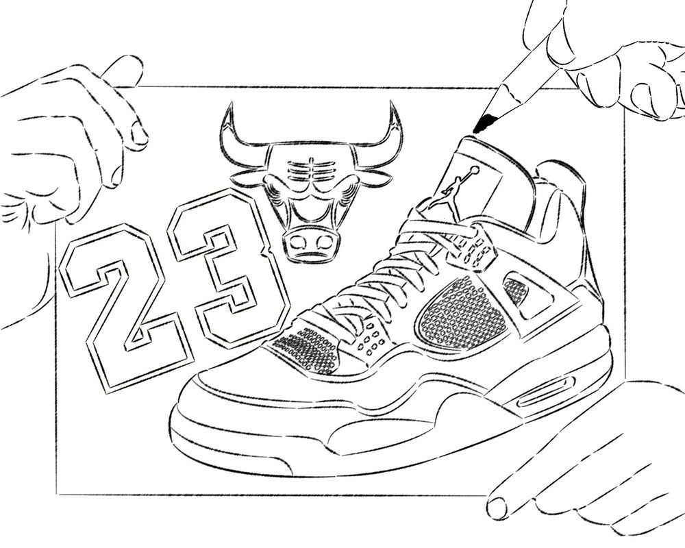 1000x800 Outstanding Printable Tennis Shoe Coloring Pages Nba Chicago Bull