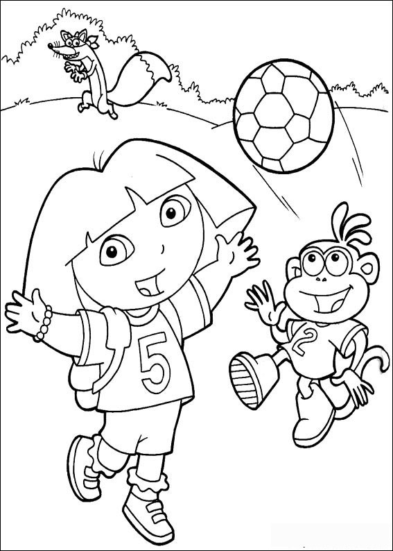 567x794 Dora Soccer Team Coloring Pages Printable For Snazzy Print Paint