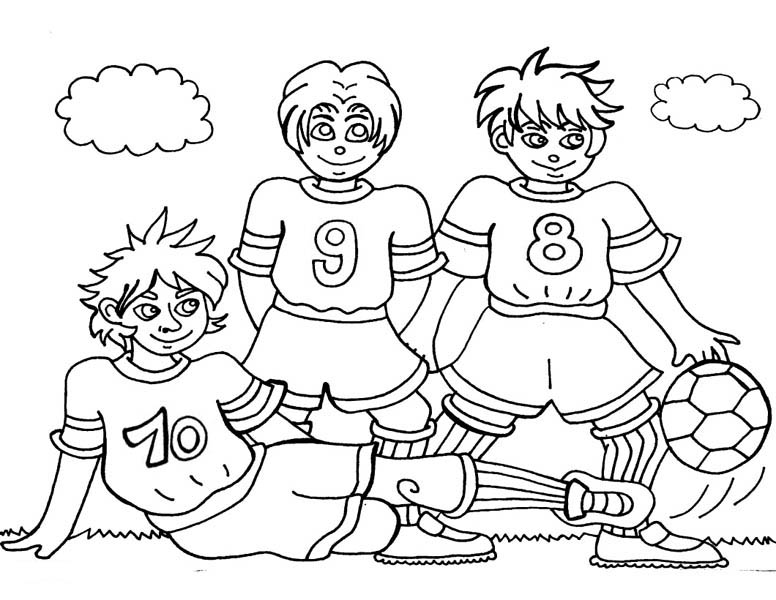 776x600 Three Soccer Player Making A Team Pose Before The Game Coloring