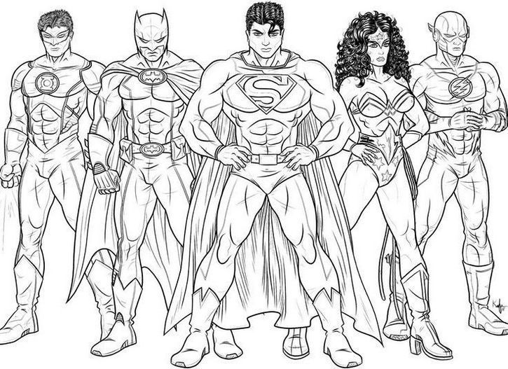 725x527 Justice League Sketch Drawing Coloring Page Dc Comics Coloring