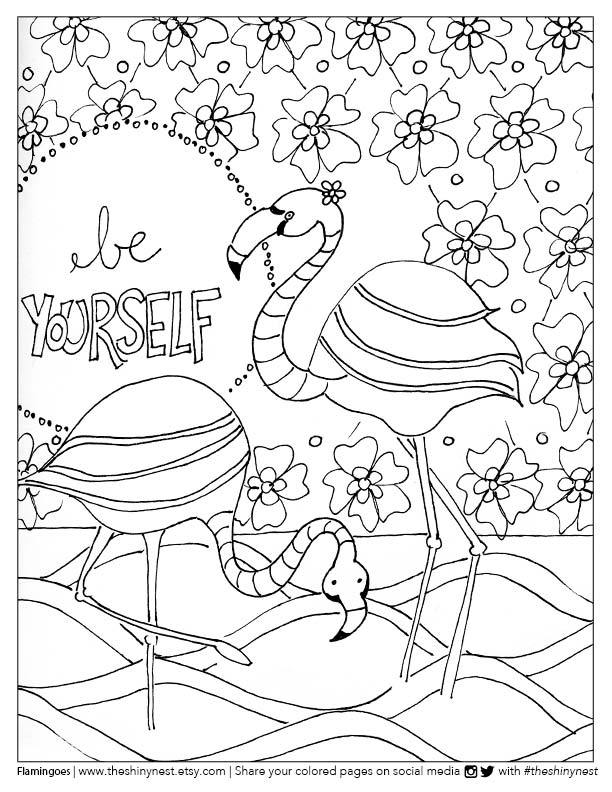 612x792 Flamingo Coloring Page Free Printable + Coloring Video Tutorial