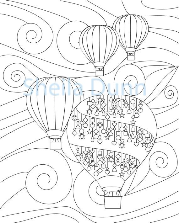 570x711 Hot Air Balloons Coloring Page X Hot Air Balloons, Air