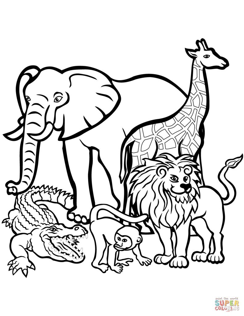 791x1024 Attractive African Animals Coloring Page Free Printable Coloring