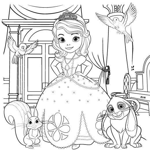 519x519 Sofia The First Coloring Page Scene, Birthdays And Craft