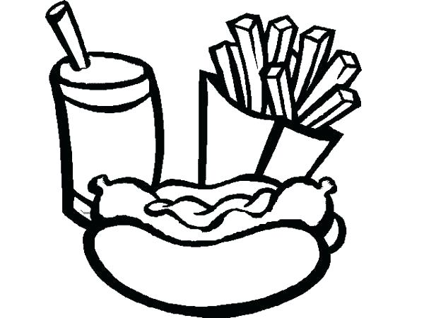 600x450 French Fries Coloring Page French Fries Coloring Page Eat Hot Dog
