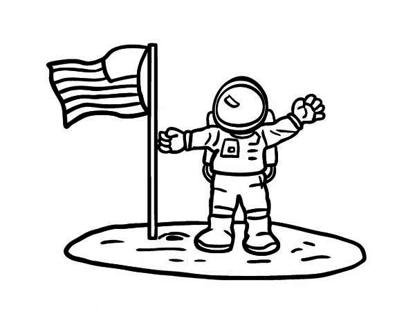 600x448 An Astronaut Put American Flag On The Moon Soil Coloring Page