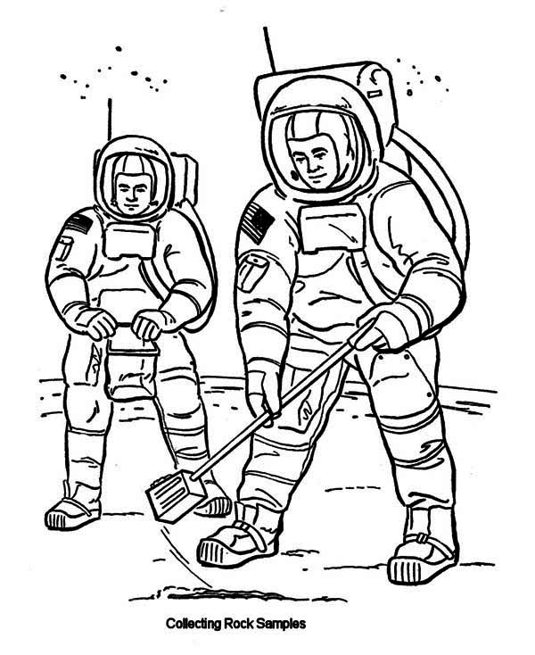 600x734 Two Astronauts Collecting Rock Samples From Moon Soil Coloring