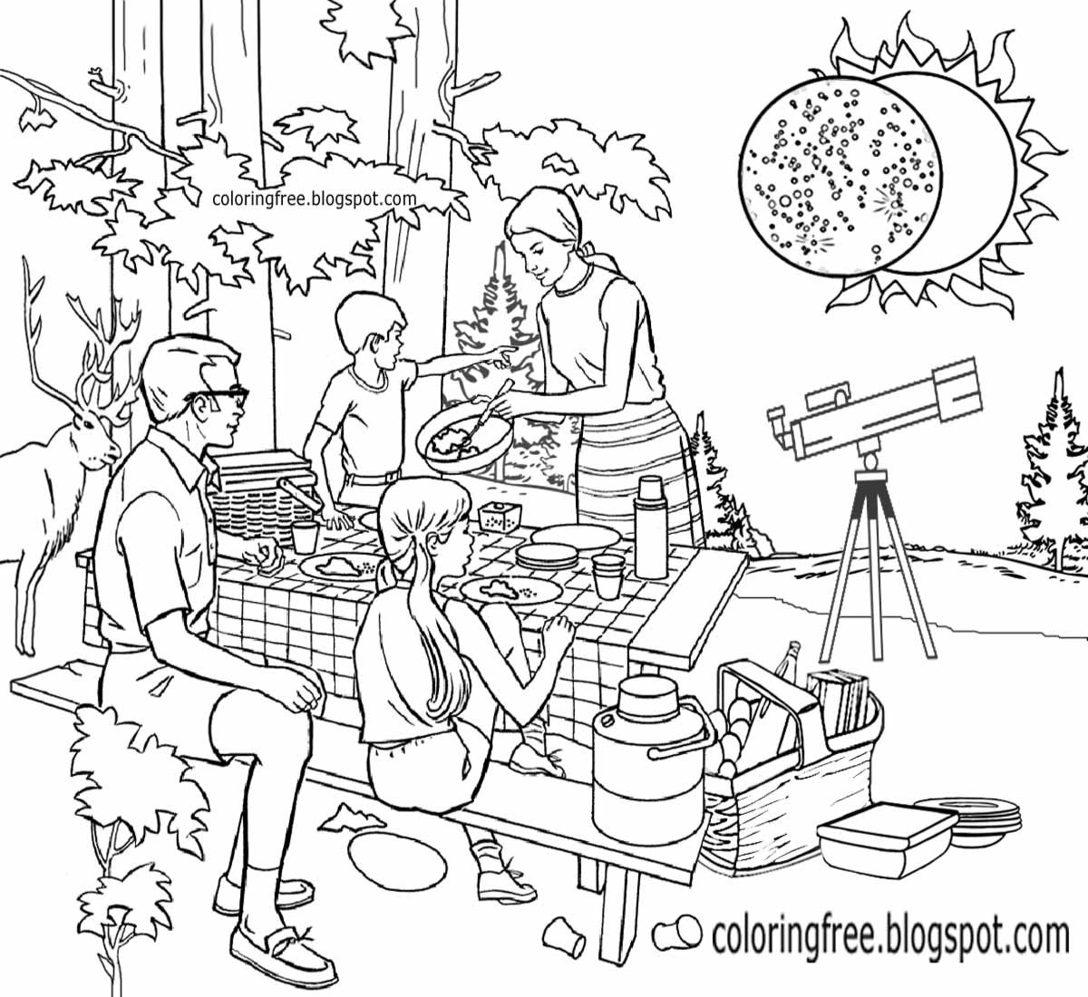 1200x1100 Awesome Solar Eclipse Coloring Page Images
