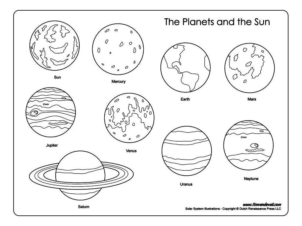 1024x768 Complete Planets Coloring Pages Printable Kids Book Pdf Pluto