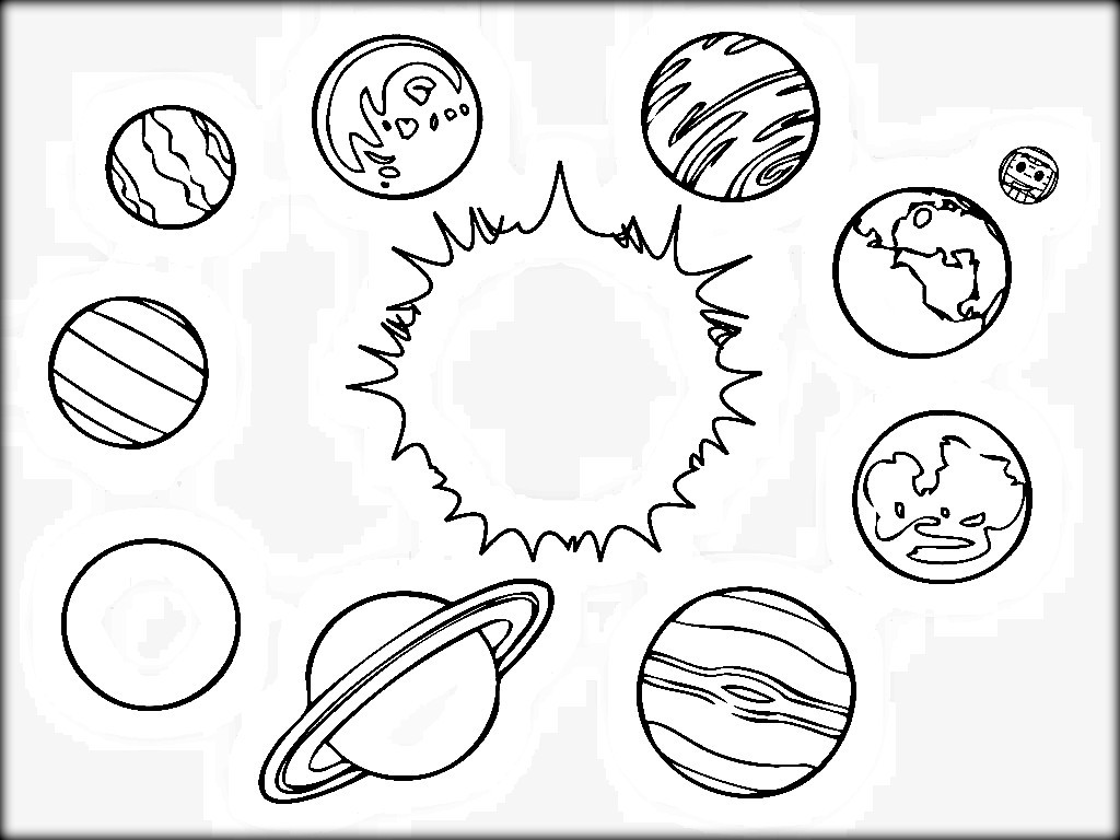 1024x768 Space Solar System Planets Coloring Pages For Kids Printable