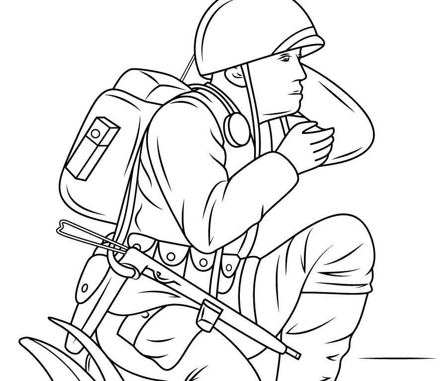 894x768 Soldier Army Coloring Pages Picture Free Printable World War