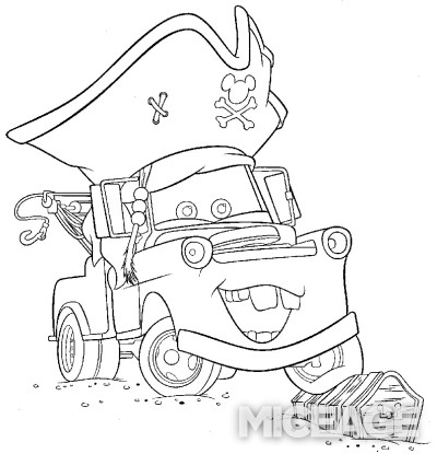 400x415 Mater Coloring Pages, Mater Tall Tales Disey Cars Coloring