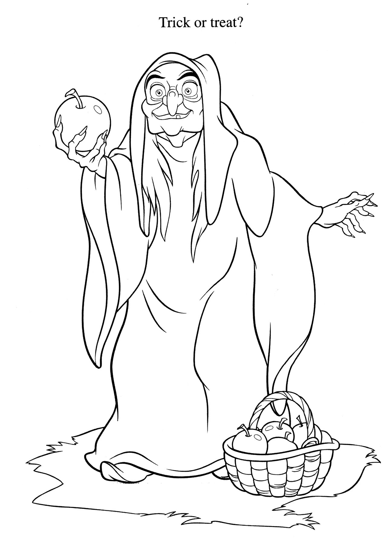 1280x1807 Witch Snow White Apple Coloring Page