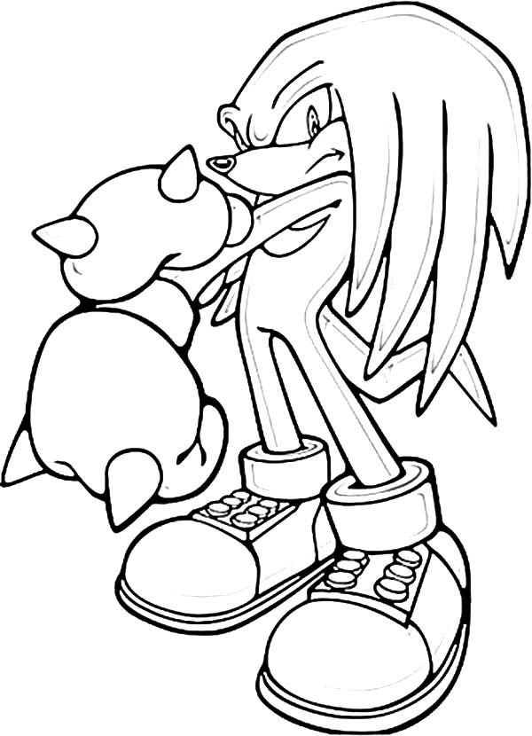 600x830 Sonic Knuckles Punch Break Coloring Pages
