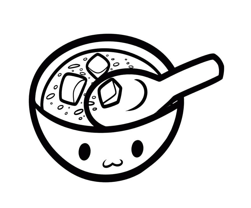870x720 Miso Soup Coloring Page For Kids Kids Coloring Pages