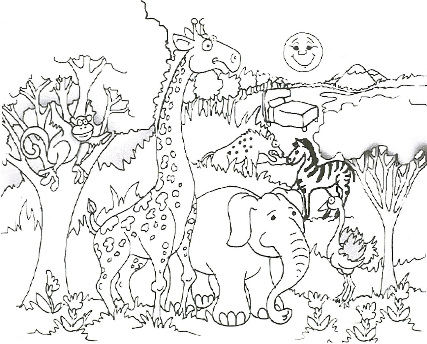 1492x1200 Africa Coloring Pages