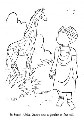 320x460 Africa Coloring Pages Picture Design Animals African American
