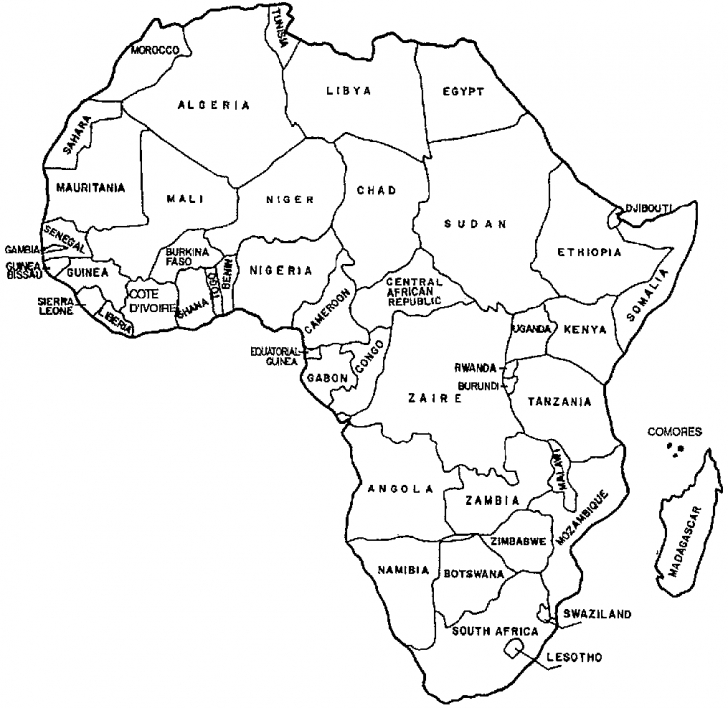 728x708 Africa Coloring Map Map Of Africa Coloring Page Leversetdujour
