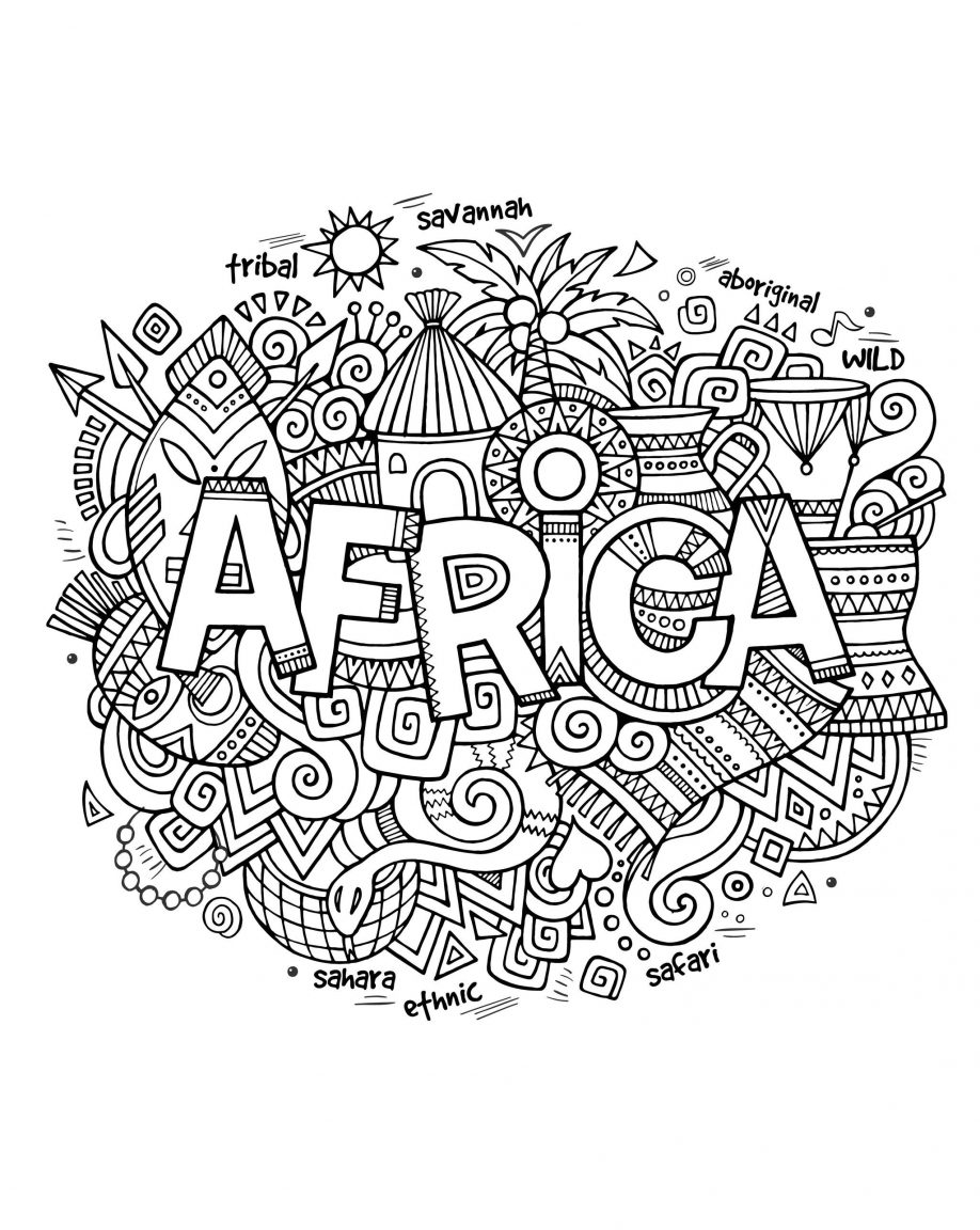 918x1152 Free Coloring Page Adult Africa Abstract Symbols Drawing Within