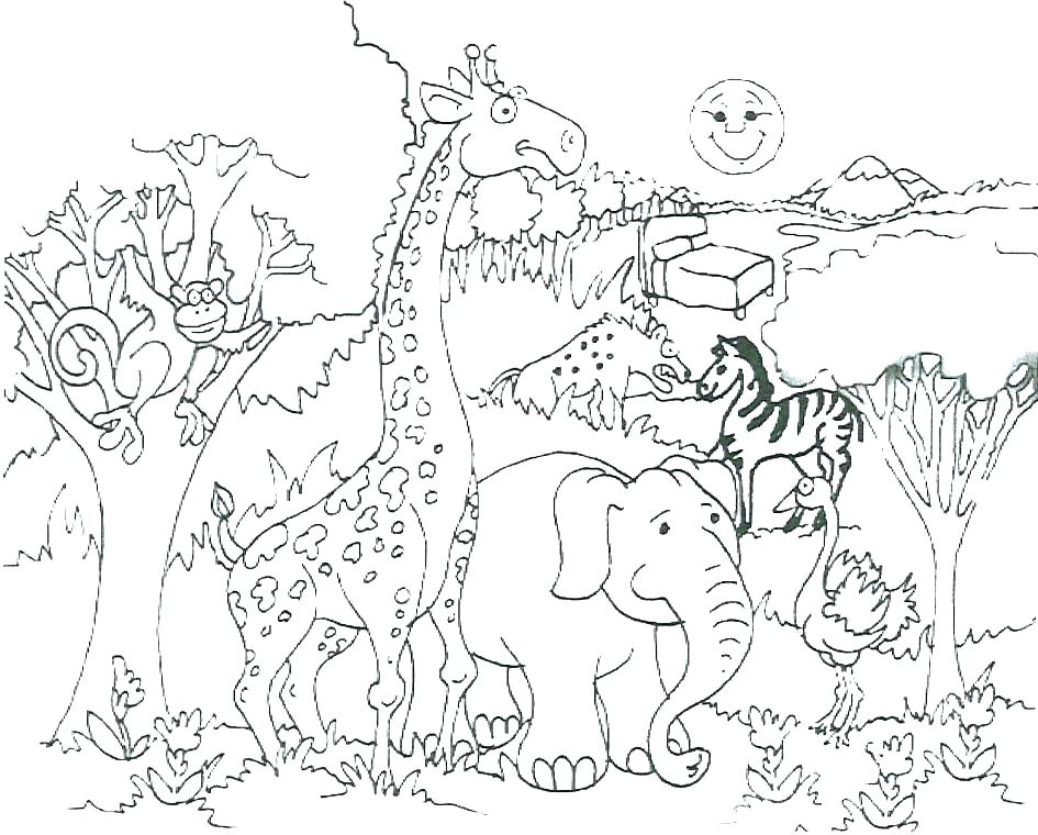 945x760 Africa Coloring Page