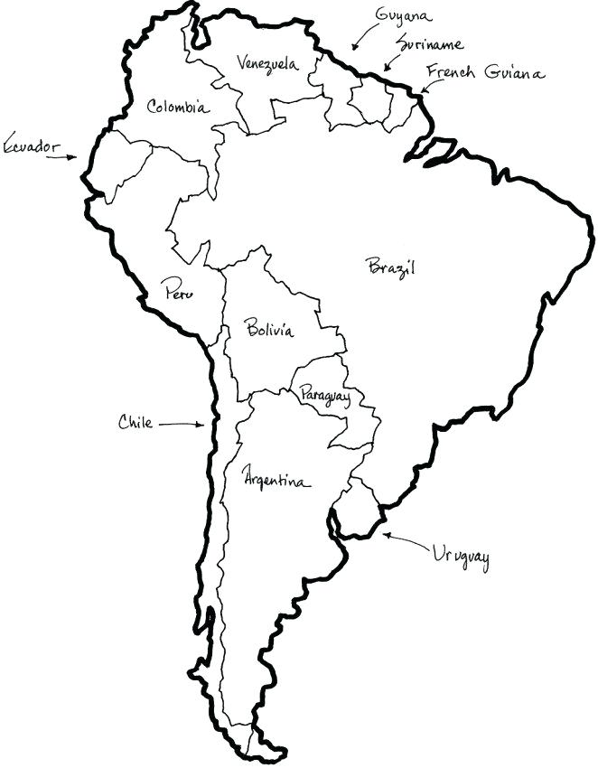 662x850 South America Coloring Pages South Map Coloring Pages South