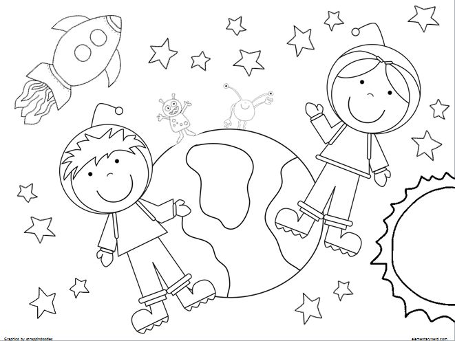 661x496 Space Coloring Pages