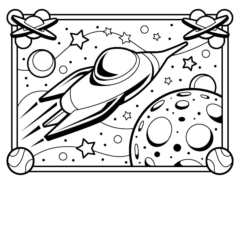 1024x1024 Printable Space Coloring Pages For Kids With Rocket Printable Free