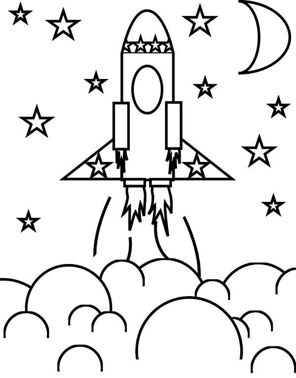 600x766 Rocket Ship And The Stars Coloring Space