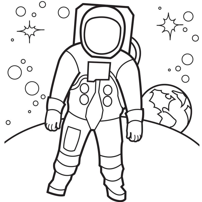 842x842 Free Space Astronaut Coloring Pages